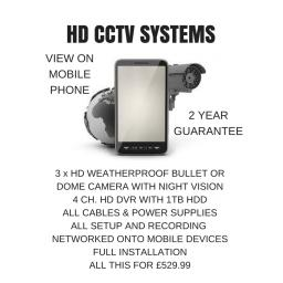 HIKVISION HD CCTV SYSTEM WITH x 3 CAMERAS FULLY FITTED