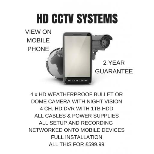 HIKVISION HD CCTV SYSTEM WITH x 4 CAMERAS FULLY FITTED